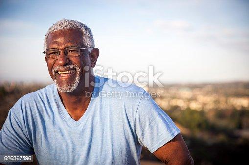 istock Attractive Senior Black Man Outdoor Portrait 626367596