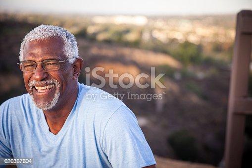 istock Attractive Senior Black Man Outdoor Portrait 626367604