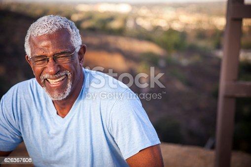 istock Attractive Senior Black Man Outdoor Portrait 626367608