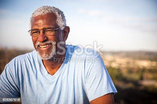 istock Attractive Senior Black Man Outdoor Portrait 626367618