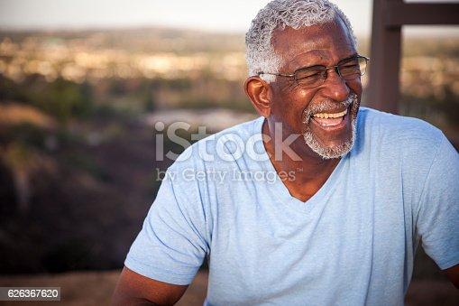 istock Attractive Senior Black Man Outdoor Portrait 626367620