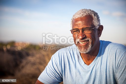 istock Attractive Senior Black Man Outdoor Portrait 626367622
