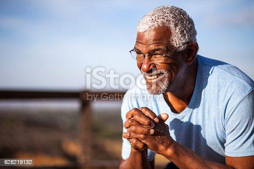 istock Attractive Senior Black Man Outdoor Portrait 628219132