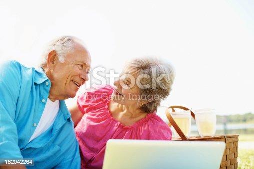 510491454 istock photo Attractive senior couple working on laptop - outdoor 182042264