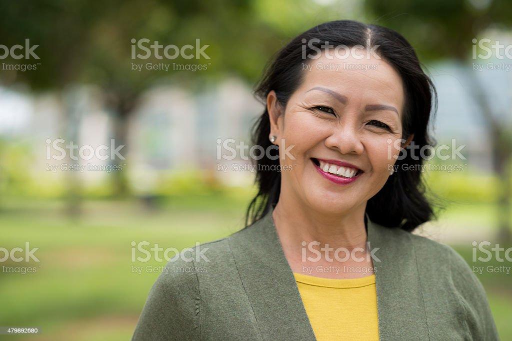 Attractive senior woman stock photo