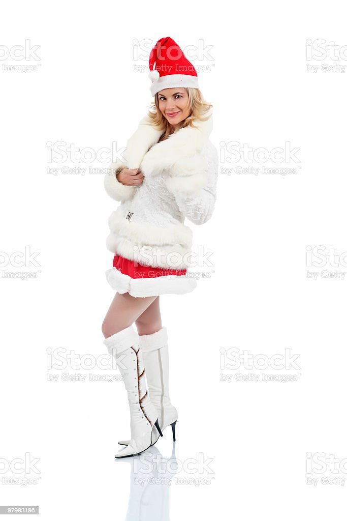 Attractive Smiling Santa Girl. royalty free stockfoto
