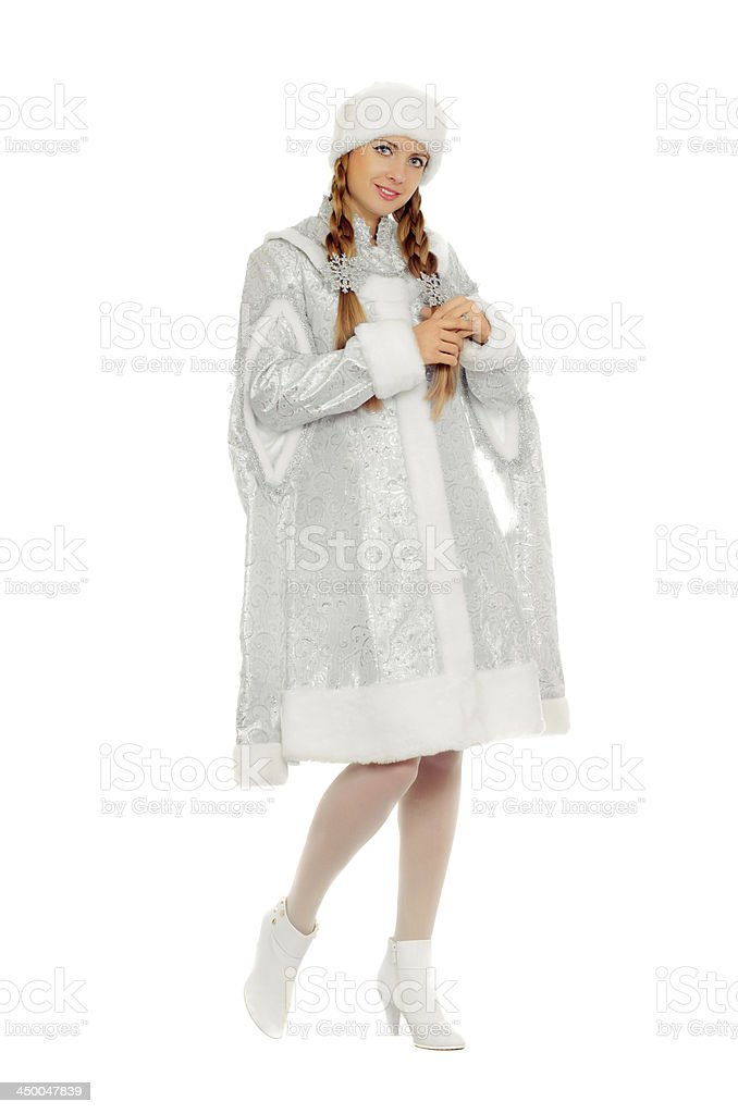 Attractive smiling Snow Maiden royalty-free stock photo