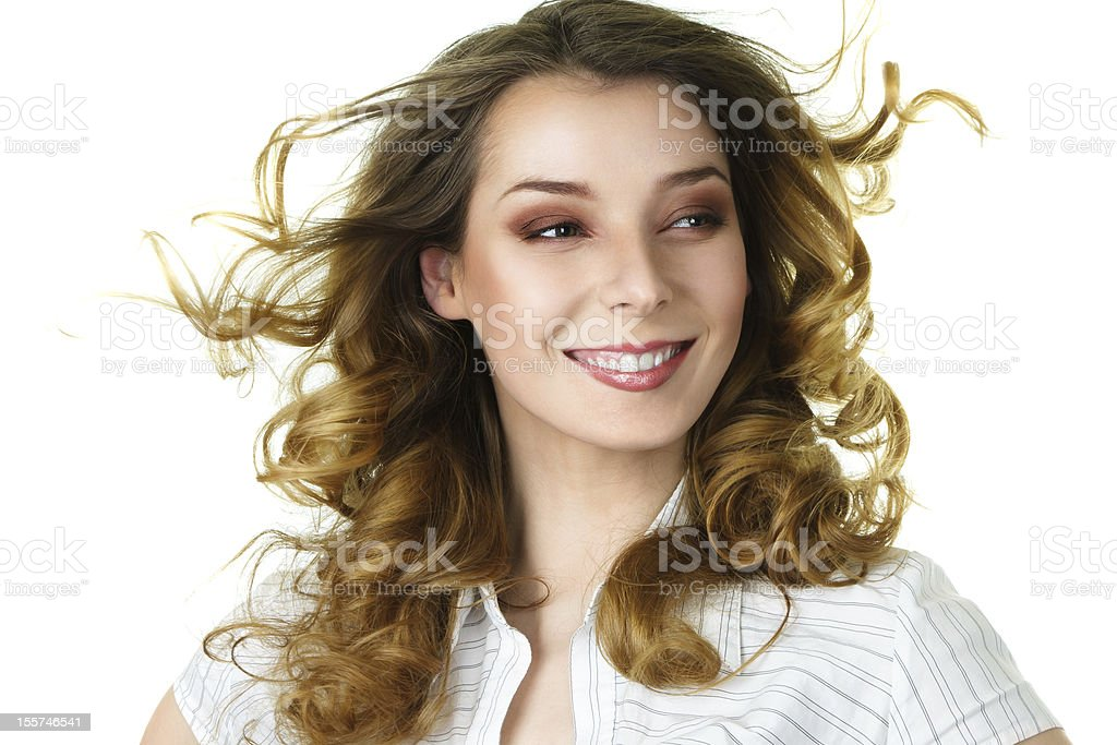 Attractive smiling woman with long hair royalty-free stock photo