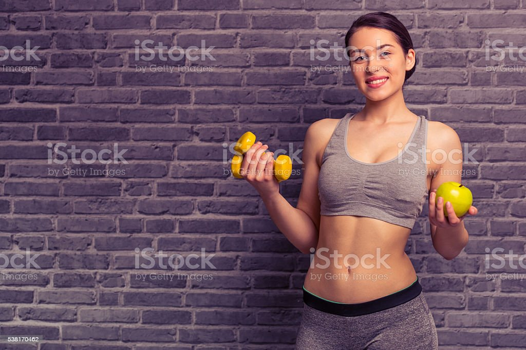 Attractive sports girl stock photo