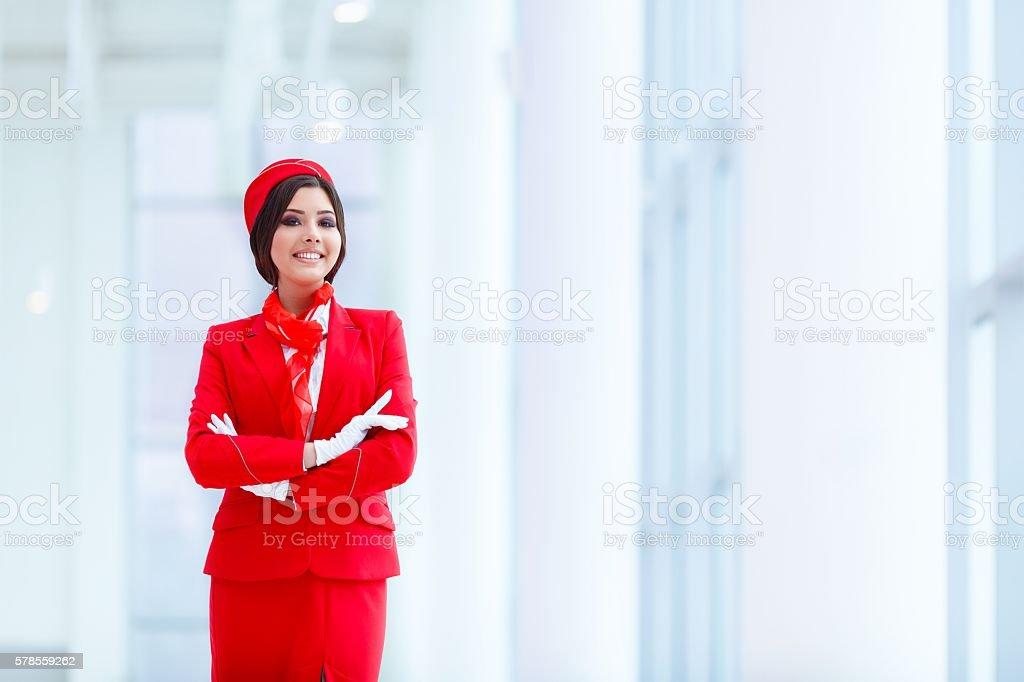 Atractiva stewardess - foto de stock