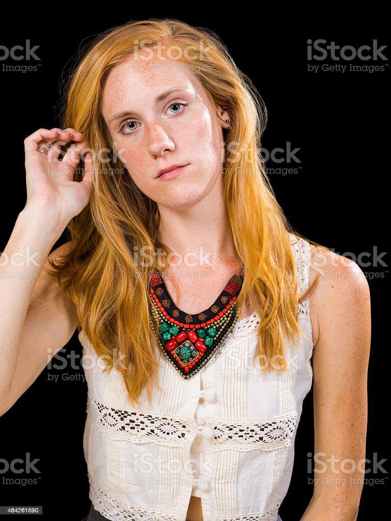 Weiblich blond blaue augen