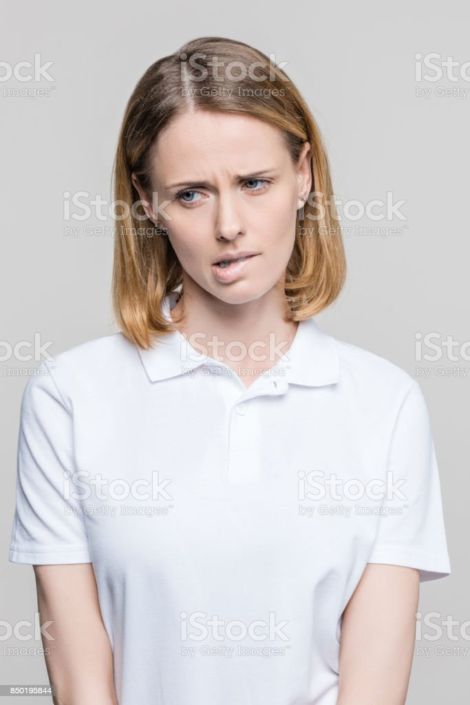 attractive stressed woman stock photo