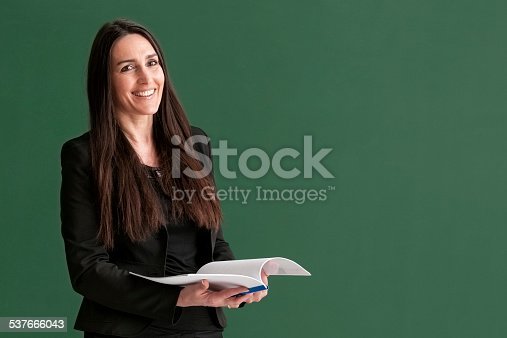 istock attractive teacher with long hair standing at blackboard 537666043