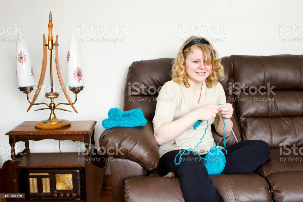 Attractive Teen Knitting stock photo