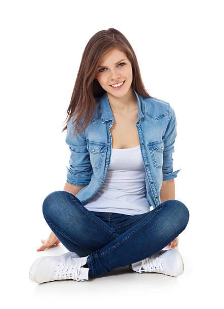 Attractive teenage girl stock photo