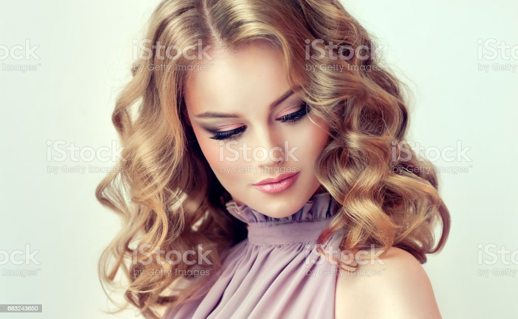 Attractive woman blonde with elegant hairstyle. 免版稅 stock photo