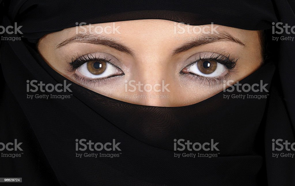 Attractive woman covered by a veil stock photo