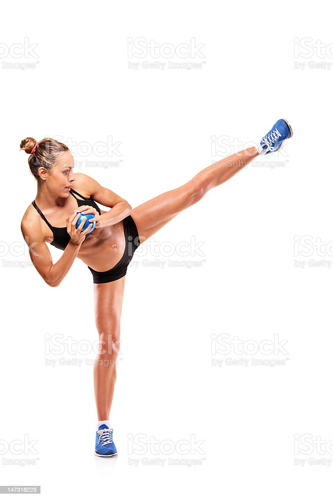 Attractive woman exercising stock photo