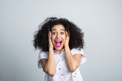 Attractive Woman Feeling Excited Stock Photo - Download Image Now