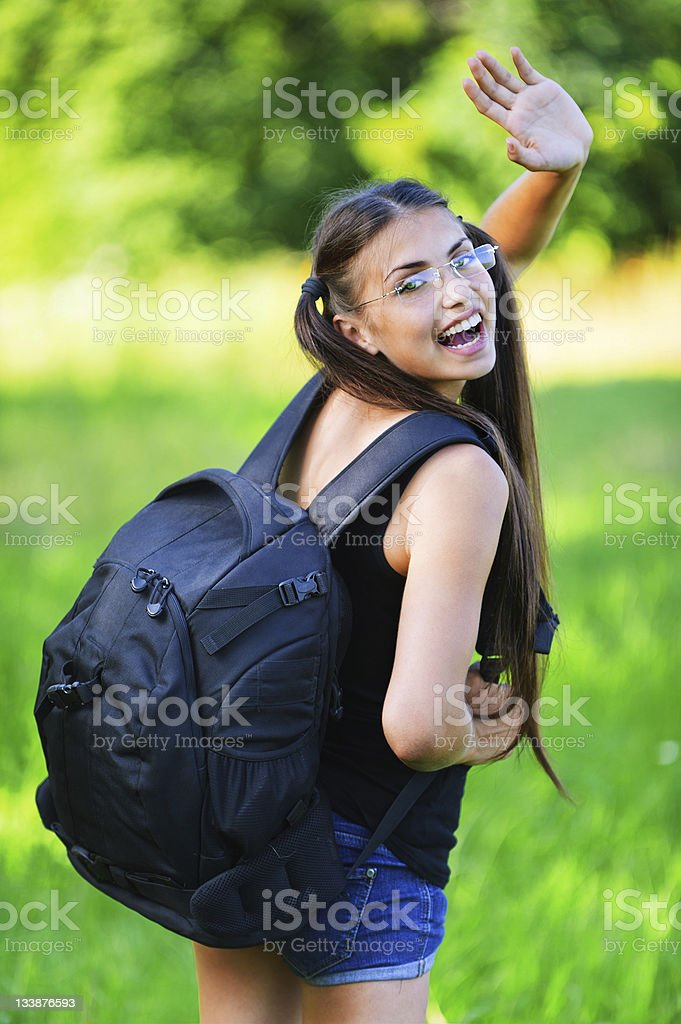 attractive woman glasses rucksack back stock photo