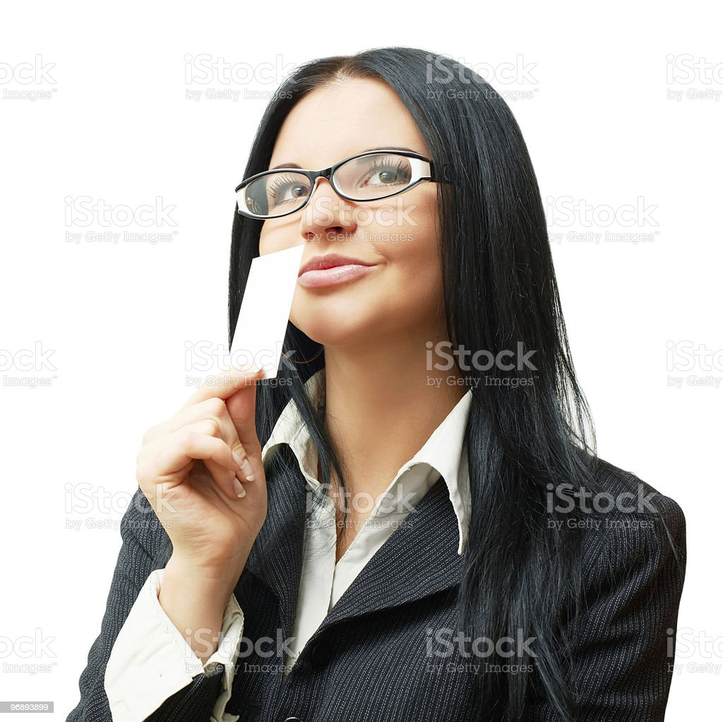 Attractive woman holding blank business card. royalty-free stock photo