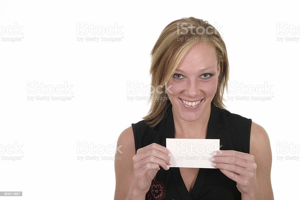 Attractive Woman Holding Blank Card royalty-free stock photo