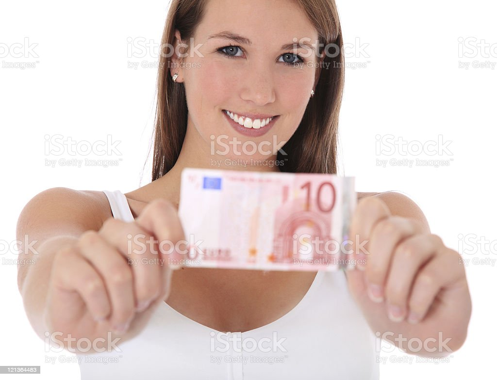 Attractive woman holding ten euro banknote stock photo