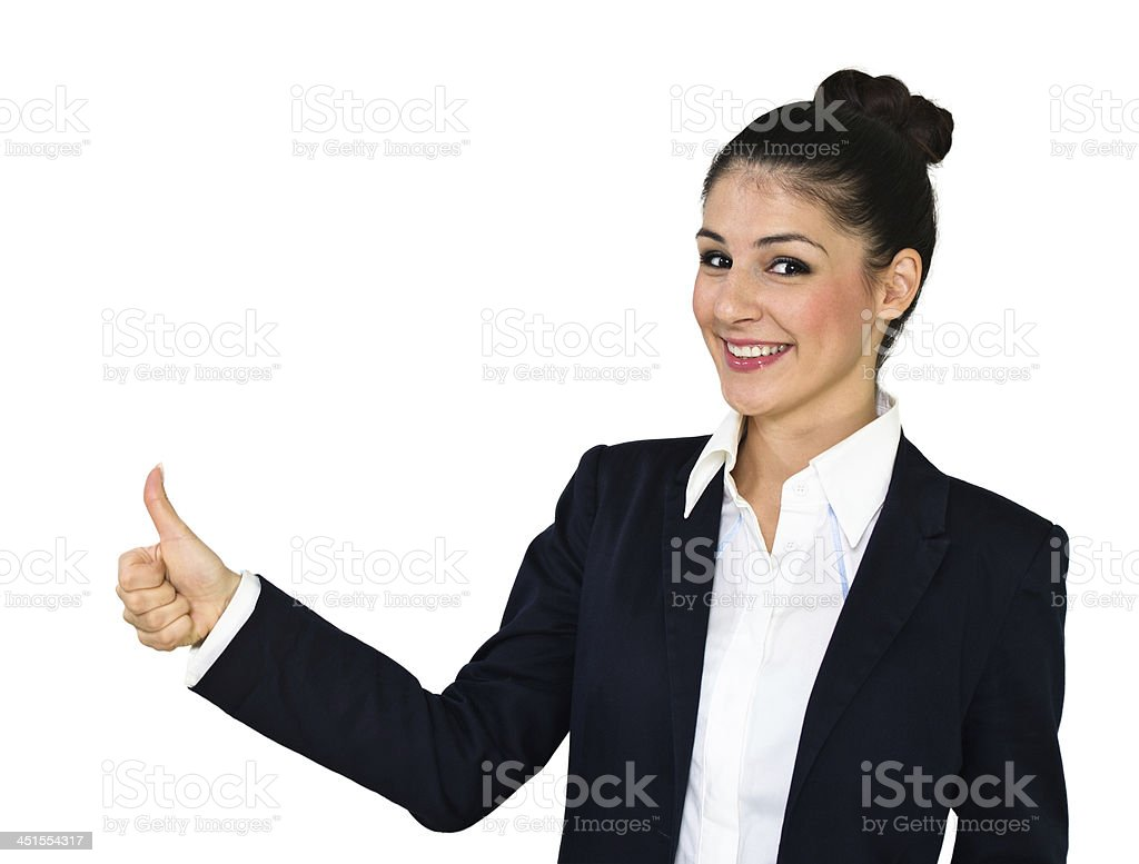 Attractive woman holding thumbs up royalty-free stock photo