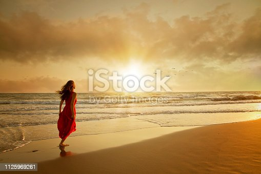 Attractive woman in beautiful dress on beach at sunset or sunrise. Freedom Concept.