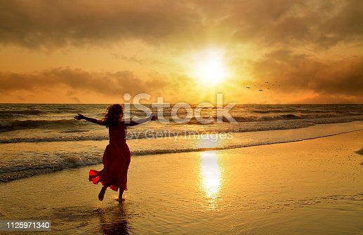 istock Attractive woman in beautiful dress on beach at sunset 1125971340