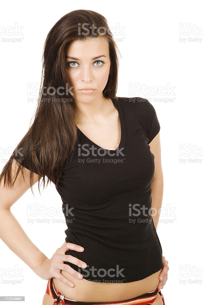 Attractive Woman in Black T-shirt royalty-free stock photo