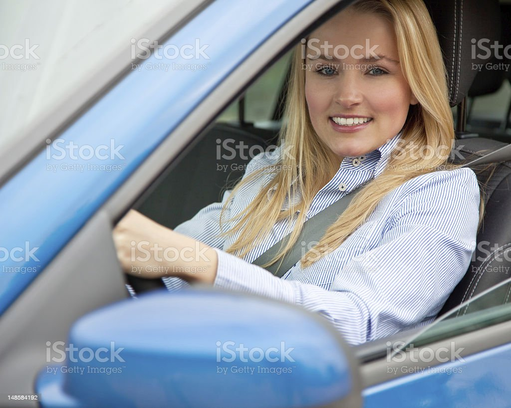 Attractive woman in car royalty-free stock photo