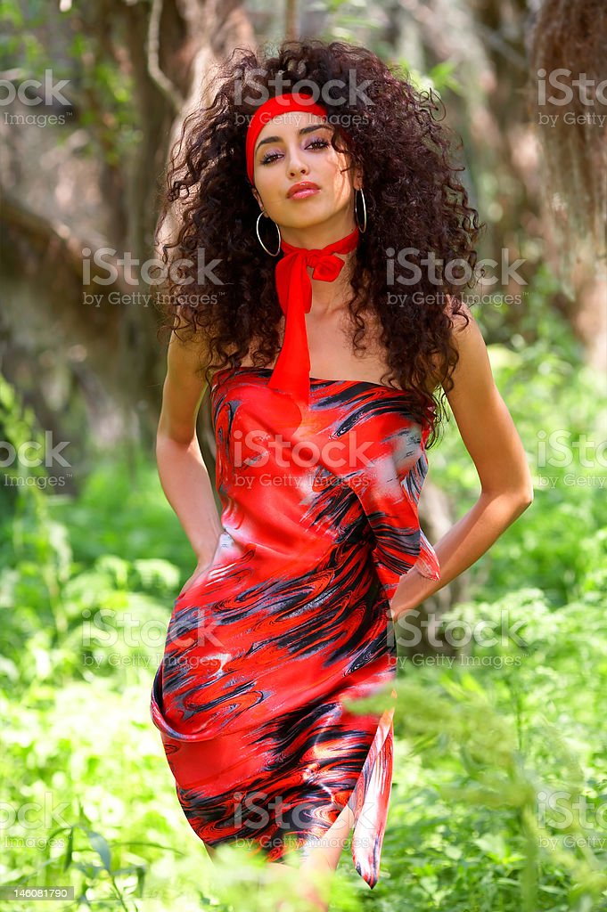 attractive woman in fabrics royalty-free stock photo