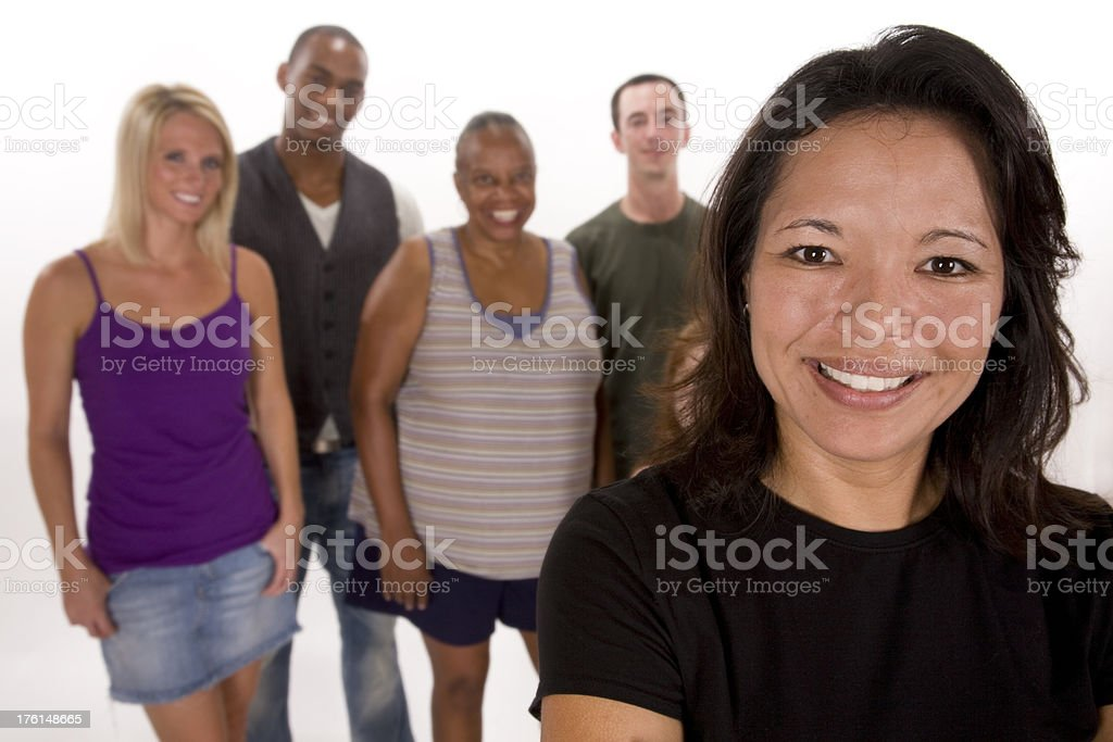 Attractive Woman in front of Group royalty-free stock photo