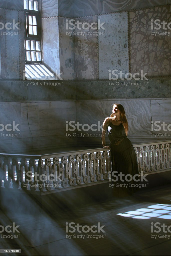 Attractive Woman in mystical place stock photo