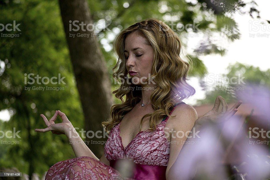 Attractive Woman Meditating royalty-free stock photo
