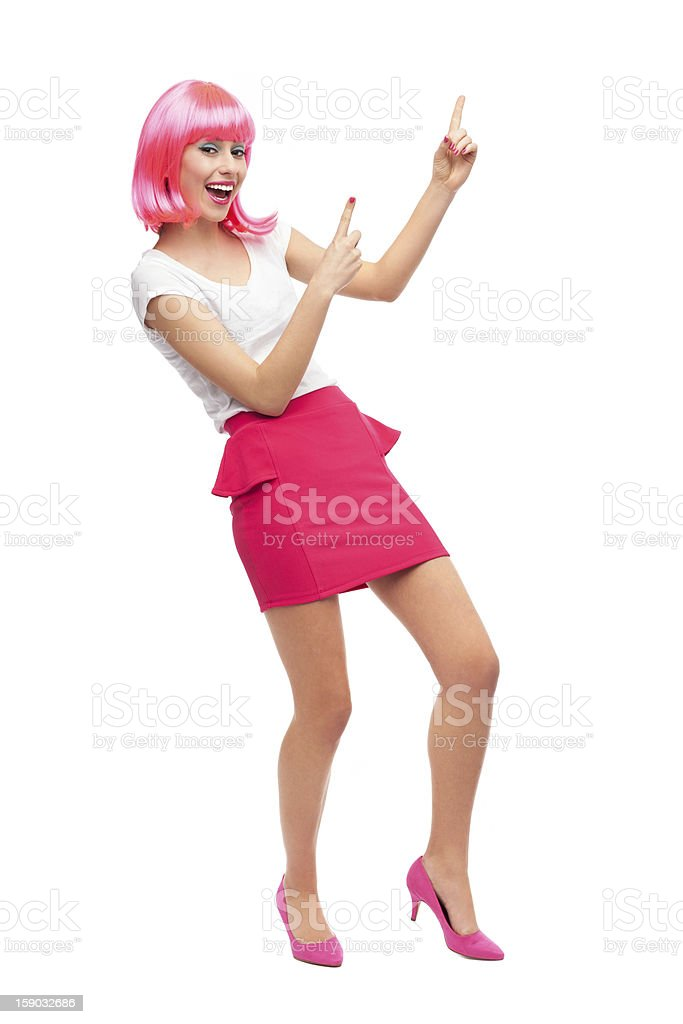 Attractive woman pointing up royalty-free stock photo