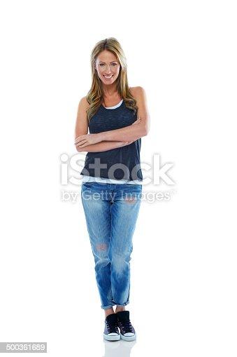 istock Attractive woman posing in casuals 500361689