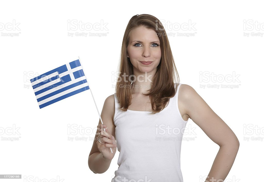 Attractive woman shows Greece flag royalty-free stock photo