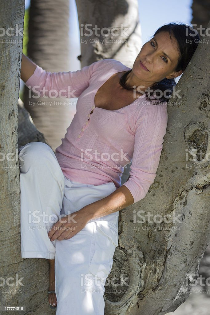 Attractive Woman Sitting in a Tree stock photo