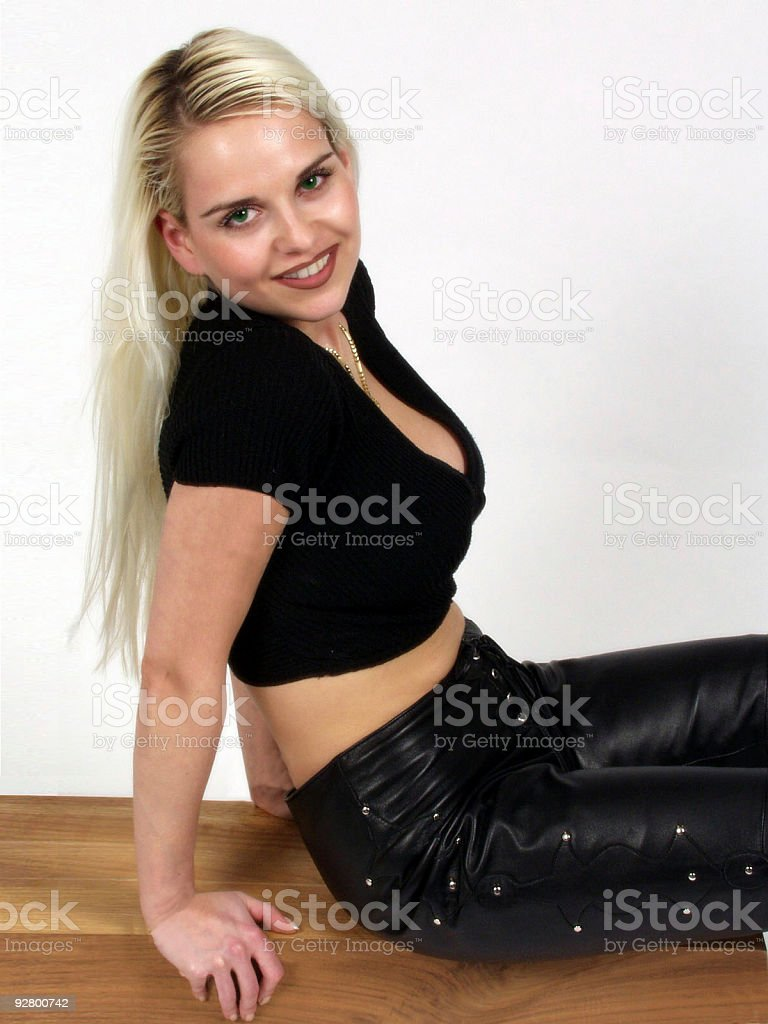 attractive woman sitting royalty-free stock photo