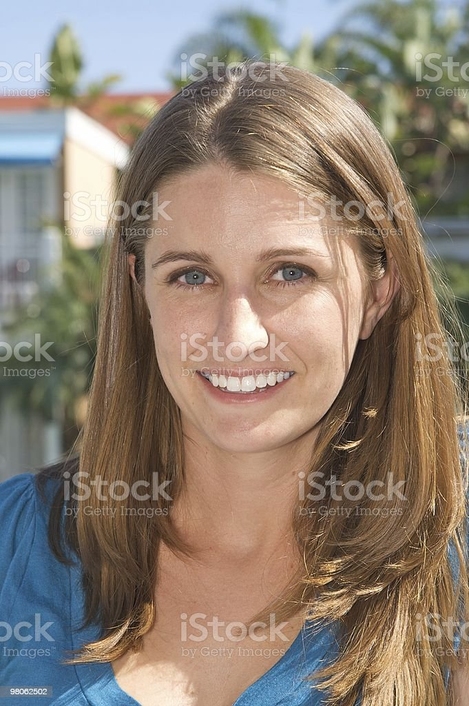 Attractive Woman Smiling Outdoors royalty-free stock photo