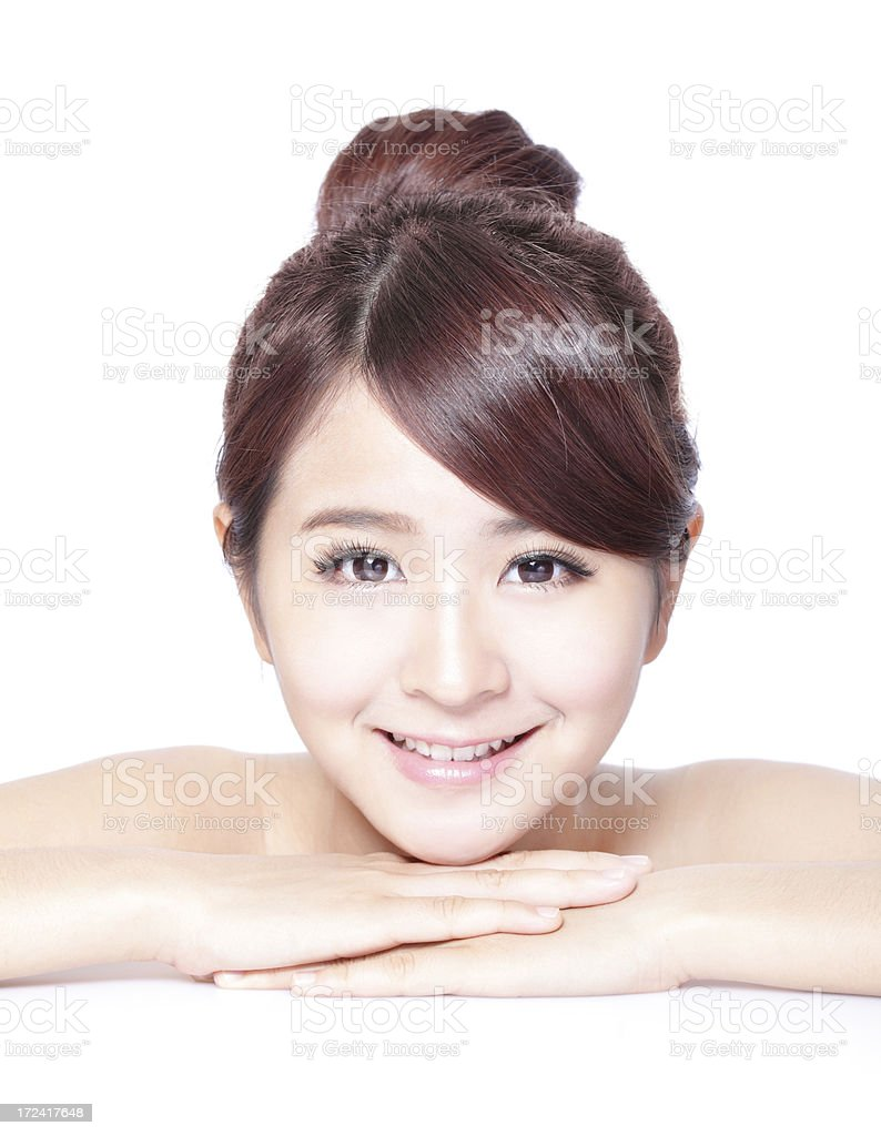 attractive woman smiling with health skin and teeth royalty-free stock photo