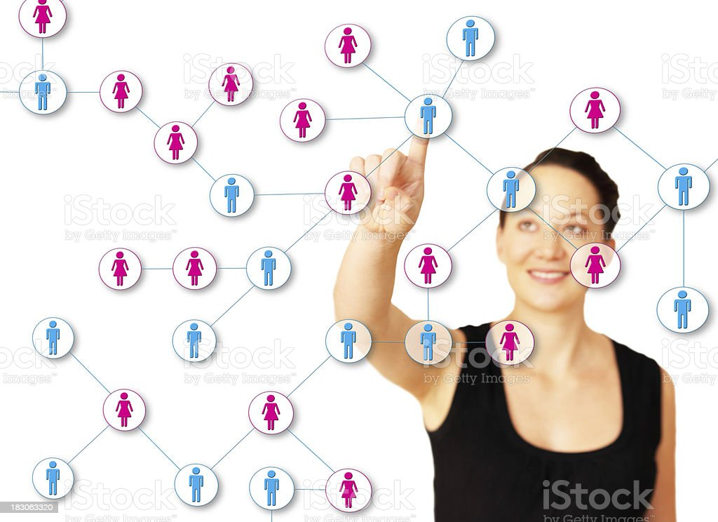 Attractive woman taking care of her online contact network royalty-free stock photo