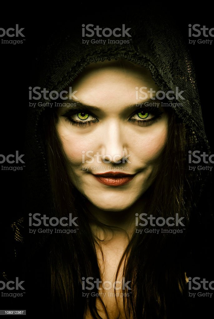 Attractive woman that looks demonic stock photo