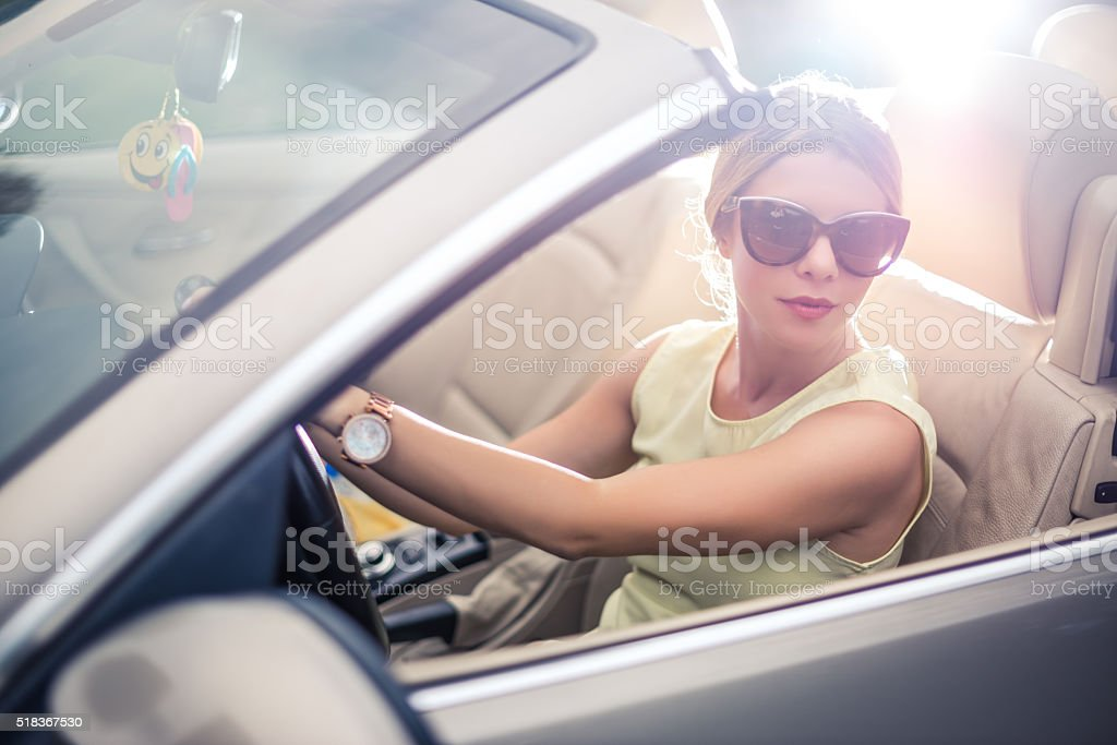 Attractive woman travelling stock photo