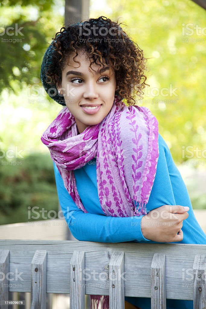 Attractive woman wearing a scarf royalty-free stock photo