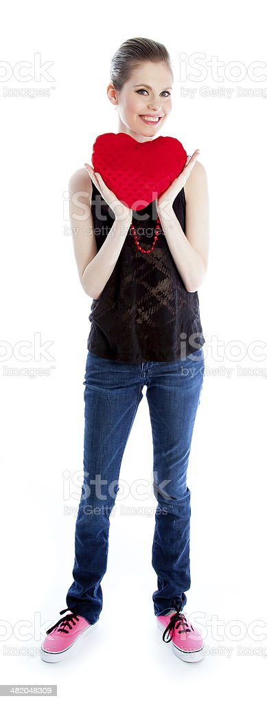 Attractive woman wearing casual clothes isolated on white background royalty-free stock photo
