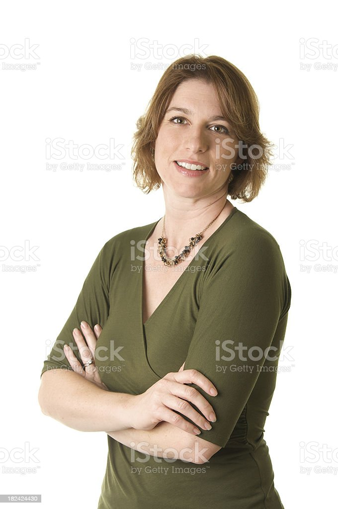 Attractive Woman with Arms Crossed on White Background stock photo