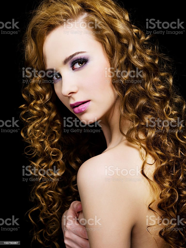 attractive woman with beauty hairs stock photo